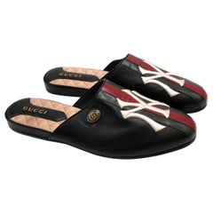 Gucci x NY Yankees Runway Black Leather Princetown Mules - Us size 8