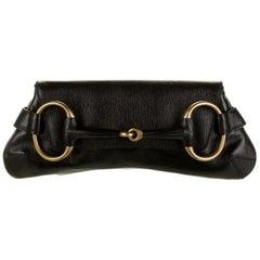 Gucci x Tom Ford Black Leather Gold Horsebit Chain Clutch Shoulder Flap Bag