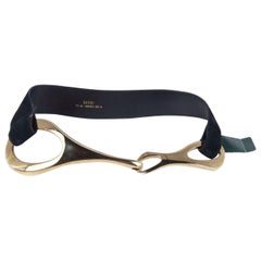 Gucci x Tom Ford NEW Black Leather Gold Large Horsebit Wide Waist Belt