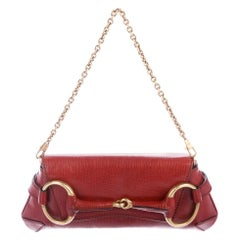 Gucci x Tom Ford Red Leather Rose Gold Horsebit Chain Clutch Shoulder Flap Bag