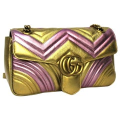 Gucci Yellow and Pink Leather Marmont Limited Edition Bag