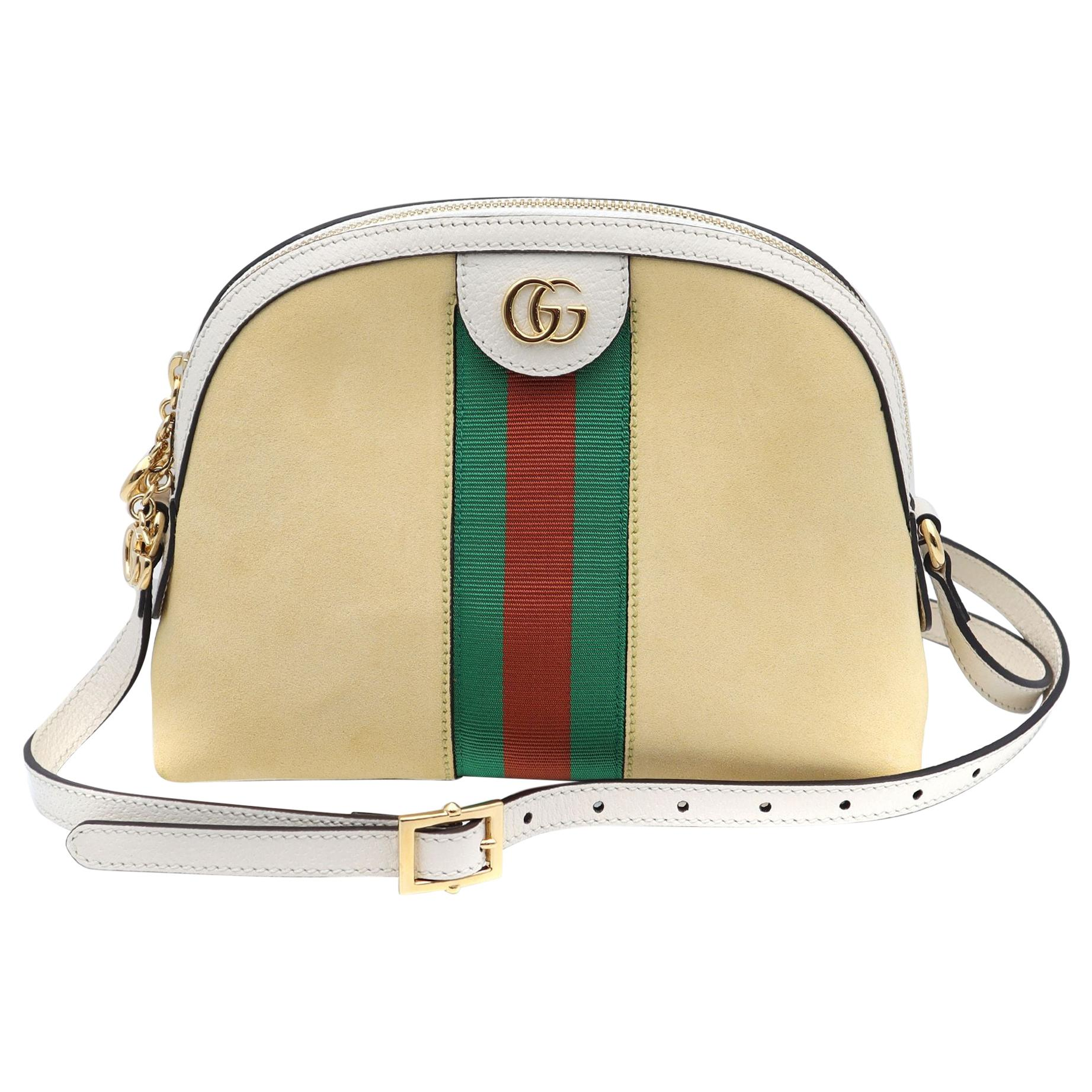 Gucci Yellow and White Small Suede Ophidia Shoulder Bag 499321