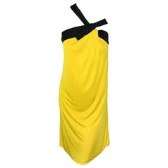 Gucci Yellow & Black One Shoulder Strap Cocktail Dress