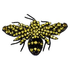Gucci Yellow Crystal Bead Embellished Bumble Bee Motif Brooch