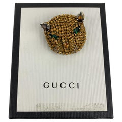 Gucci Yellow Crystal Embellished Metal Cat Brooch Never Worn