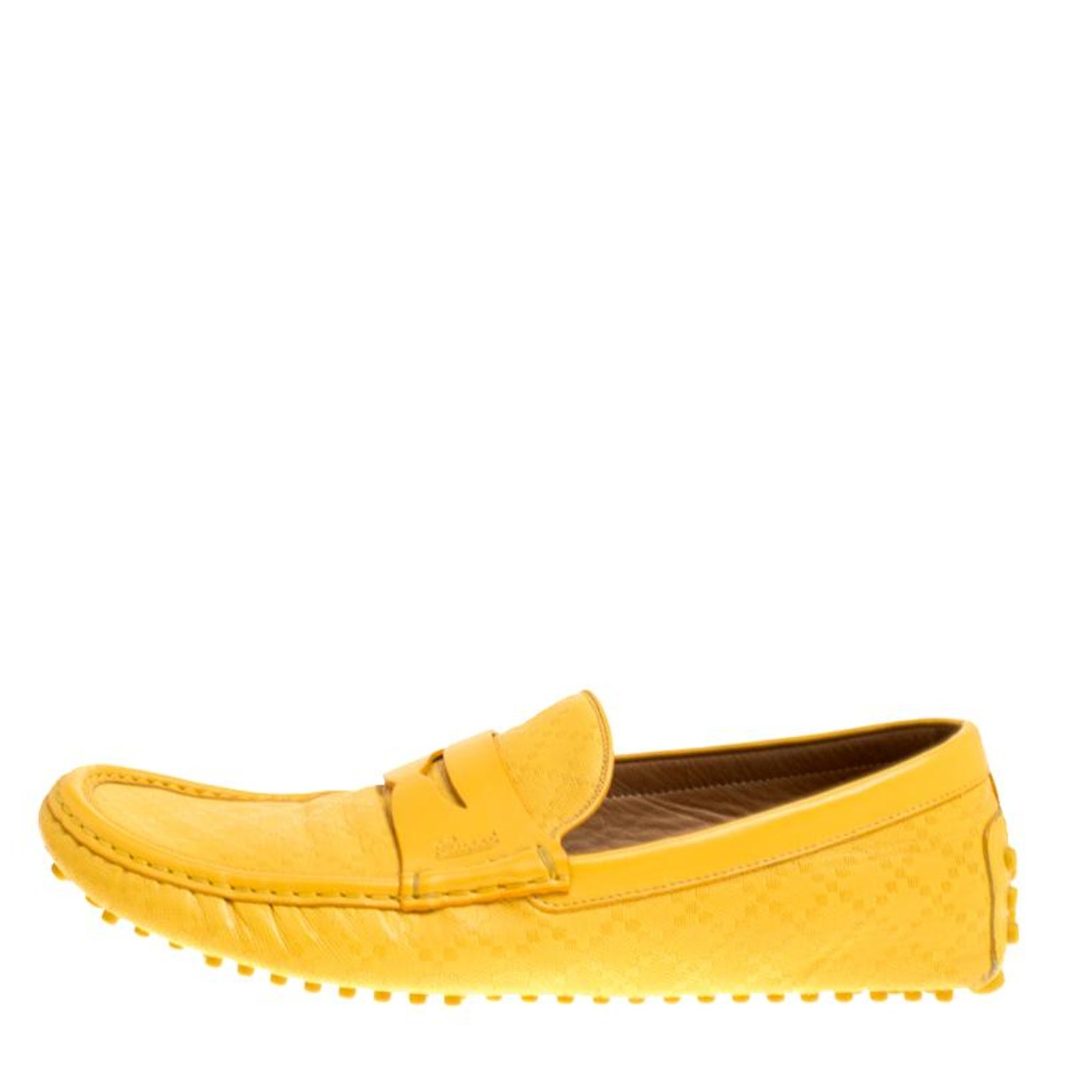 c46699dfc0c Gucci Yellow Diamante Leather Driver Loafers Size 44.5 For Sale at 1stdibs