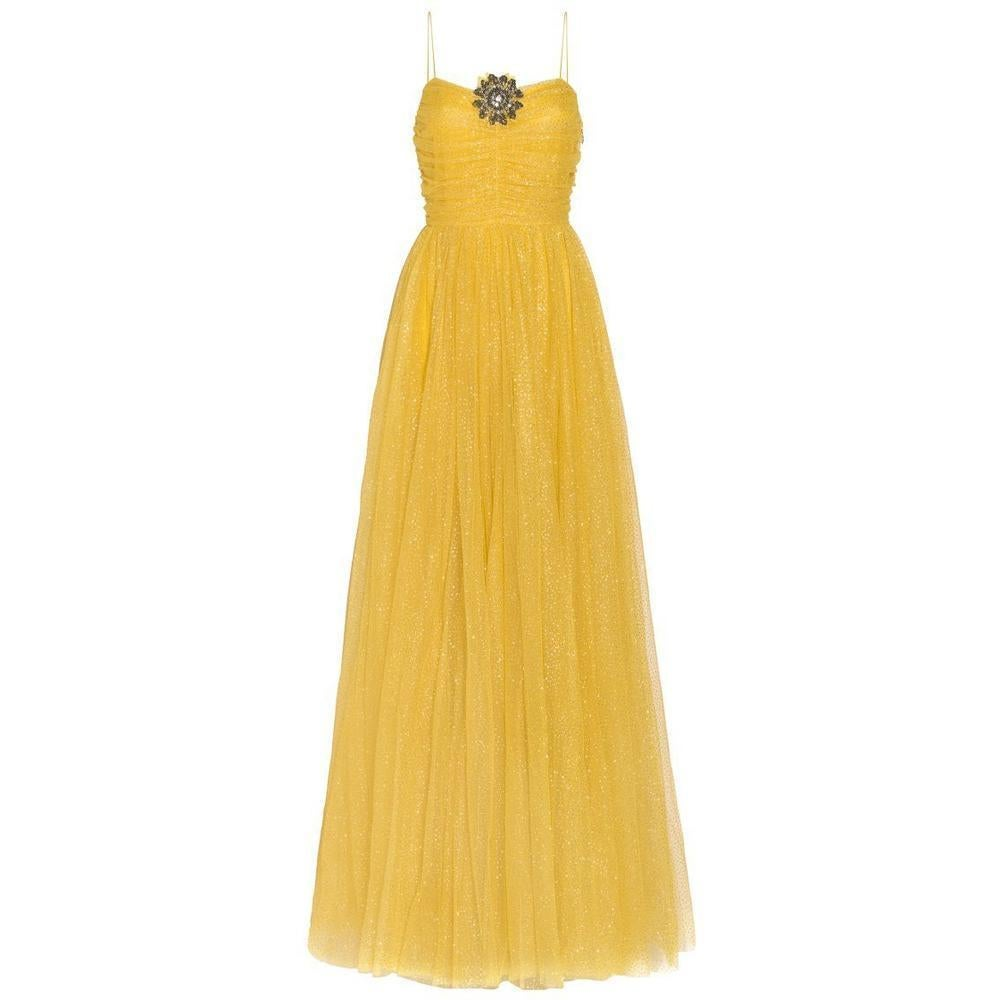f8d2d482 GUCCI Yellow Glitter Tulle Gown IT38 US 0-2 For Sale at 1stdibs
