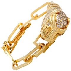 Gucci Yellow Gold and Diamond Panther Bracelet