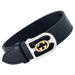 Gucci Yellow Gold and Stainless Steel Azalea Leather G Black Bracelet