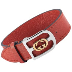 Gucci Yellow Gold and Stainless Steel Azalea Leather G Orange Bracelet