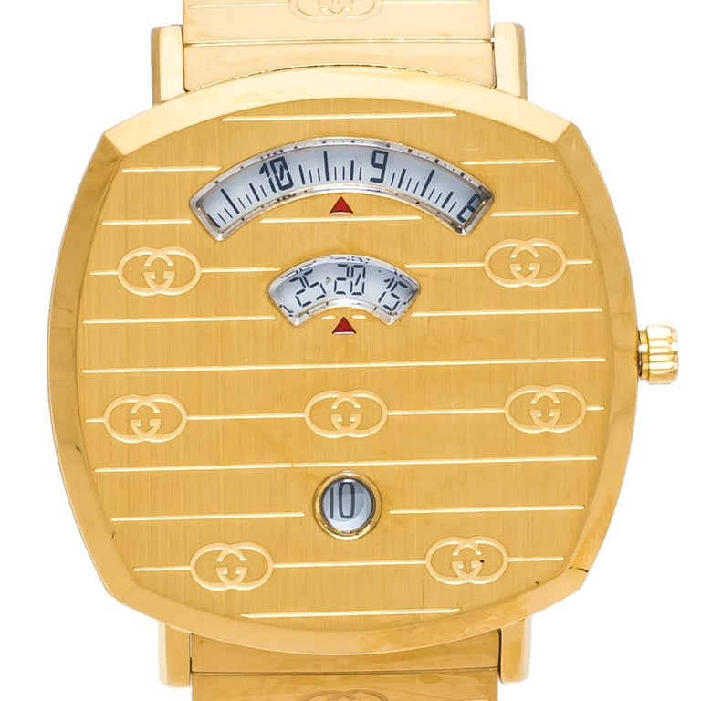 Gucci Yellow Gold PVD Coated Stainless Steel Grip Men's Wristwatch 38 mm In New Condition In Dubai, Al Qouz 2
