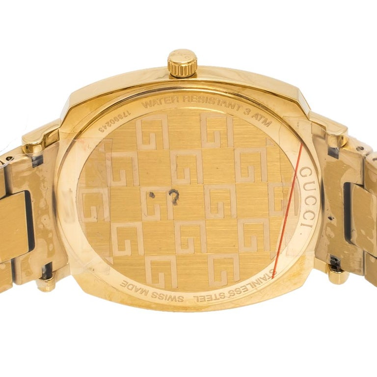 Gucci Yellow Gold PVD Coated Stainless Steel Grip Men's Wristwatch 38 mm 1