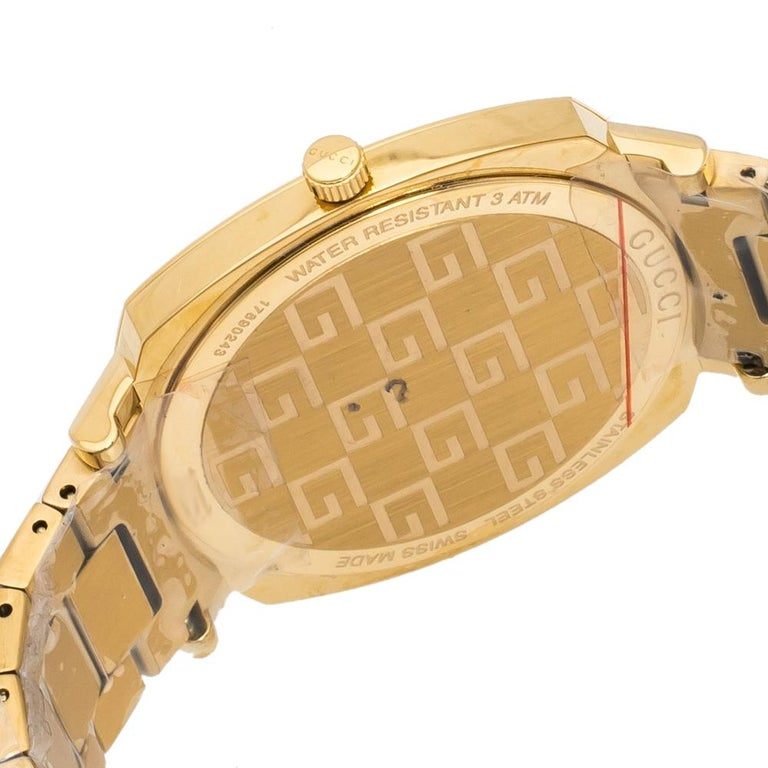 Gucci Yellow Gold PVD Coated Stainless Steel Grip Men's Wristwatch 38 mm 2
