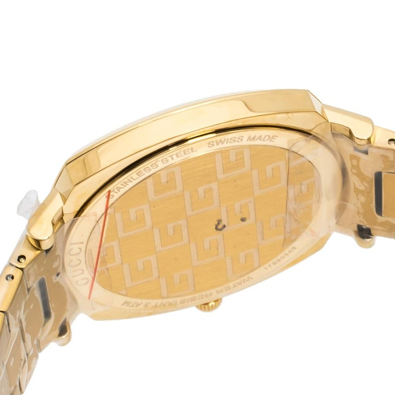 Gucci Yellow Gold PVD Coated Stainless Steel Grip Men's Wristwatch 38 mm 3