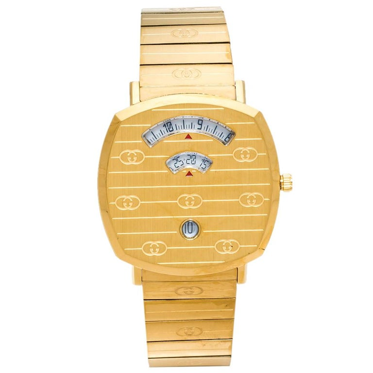 Gucci Yellow Gold PVD Coated Stainless Steel Grip Men's Wristwatch 38 mm