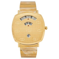 Gucci Yellow Gold PVD Stainless Steel Grip YA157409 Men's Wristwatch 38 mm