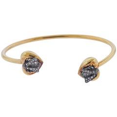 Gucci Yellow Gold Silver Bee Diamond Cuff Bracelet