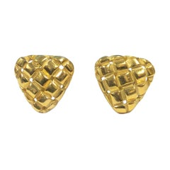 Gucci Yellow Gold Waffle Pattern Earrings