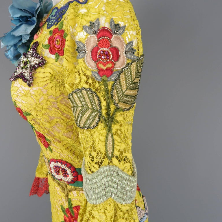 Gucci Yellow Lace Embroidered Dress Gown,  Cruise 2016 Collection For Sale 7