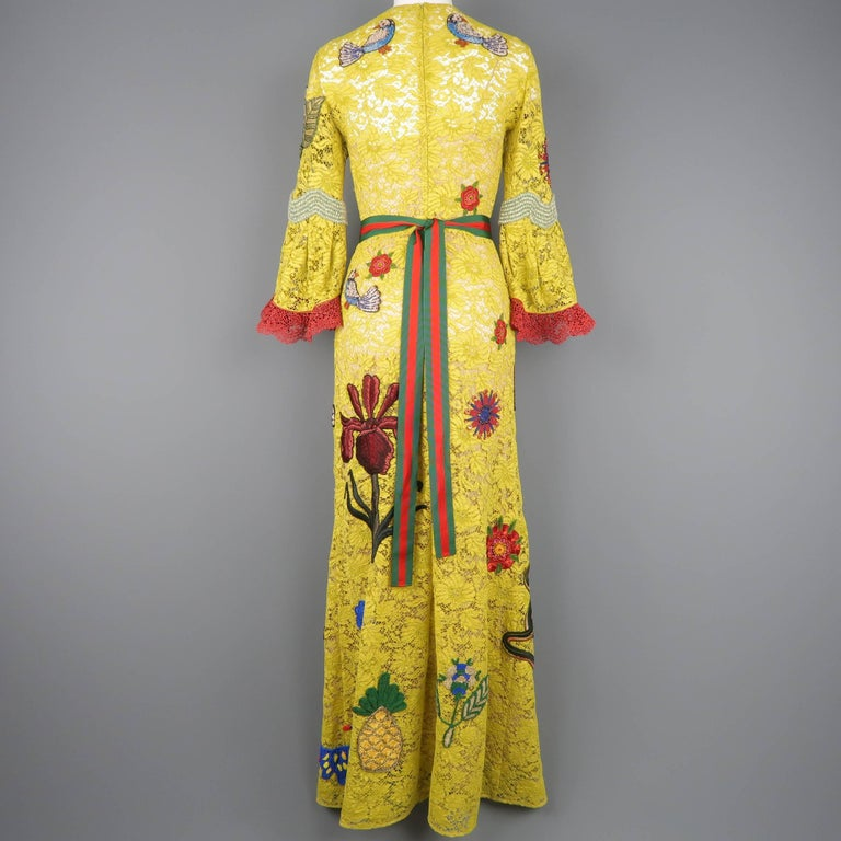 Gucci Yellow Lace Embroidered Dress Gown,  Cruise 2016 Collection For Sale 11
