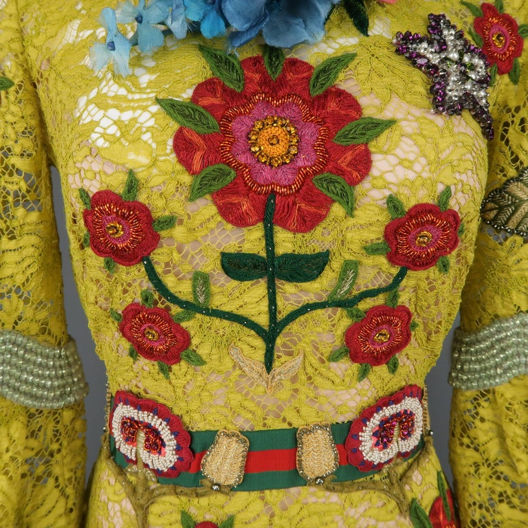 Gucci Yellow Lace Embroidered Dress Gown,  Cruise 2016 Collection For Sale 1