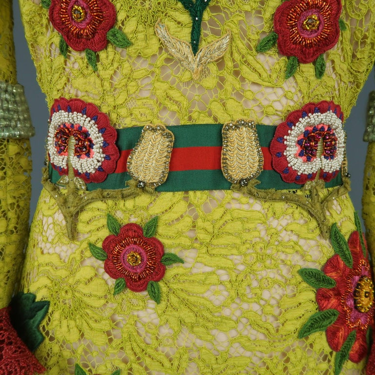 Gucci Yellow Lace Embroidered Dress Gown,  Cruise 2016 Collection For Sale 2