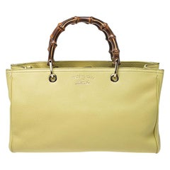 Gucci Yellow Leather Bamboo Small Tote