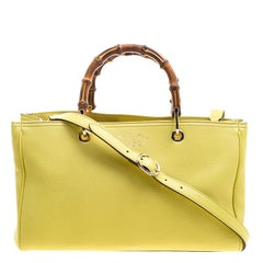 Gucci Yellow Leather Bamboo Top Handle Shopper Tote