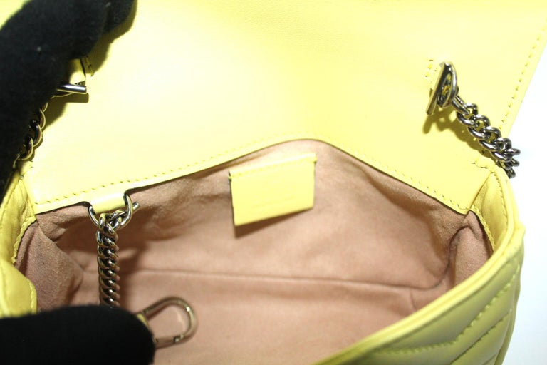 Gucci Yellow Leather Marmont Bag 2