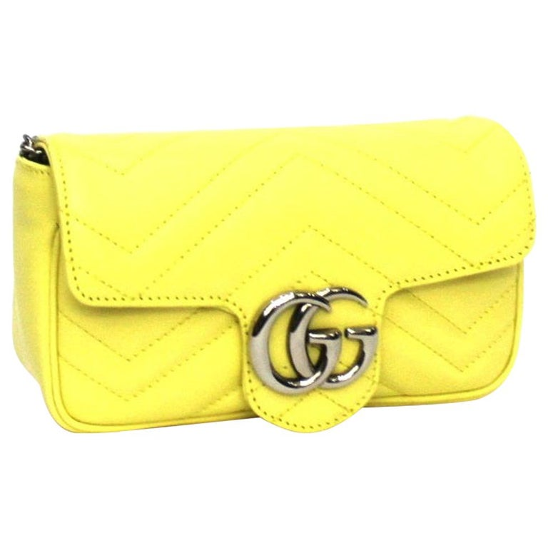 Gucci Yellow Leather Marmont Bag