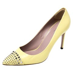 Gucci Yellow Leather Studded Pointed Toe Pumps Size 38.5