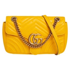 Gucci Yellow Matelassé Leather Small GG Marmont Shoulder Bag