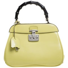 Gucci Yellow Patent Leather Lady Lock Bamboo Top Handle Bag