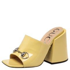 Gucci Yellow Patent Leather Lexi Slide Sandals Size 37.5