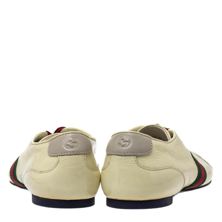 Beige Gucci Yellow Patent Leather Web Detail Lace Up Low Top Sneakers Size 38.5 For Sale