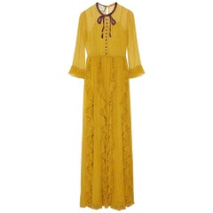 GUCCI Yellow Silk Chiffon Embroidered Gown IT38 US 0-2