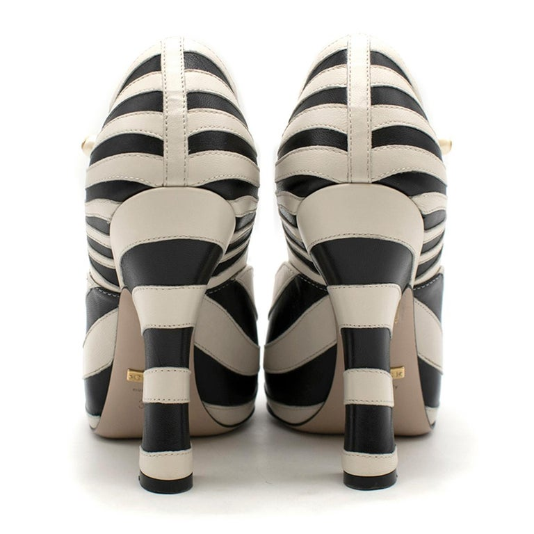 Gucci Zebra Leather Pumps 5.5  In Excellent Condition For Sale In London, GB