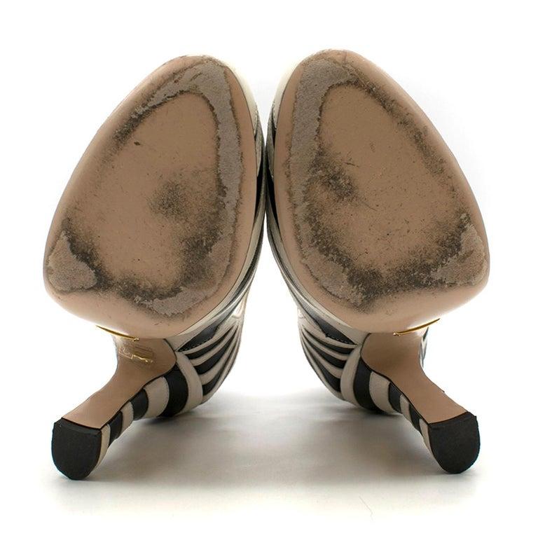Gucci Zebra Leather Pumps 5.5  For Sale 4