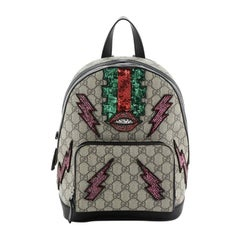 Gucci Zip Pocket Backpack Embellished GG Coated Canvas Small