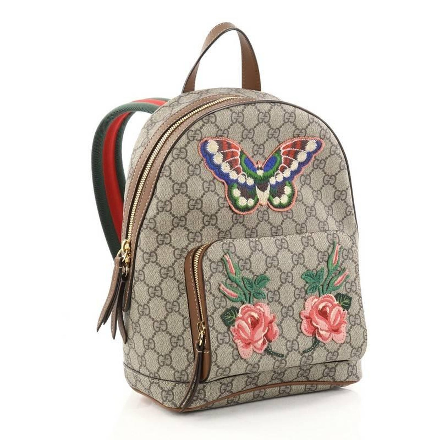 Gucci Zip Pocket Backpack Embroidered GG Coated Canvas Small at 1stdibs