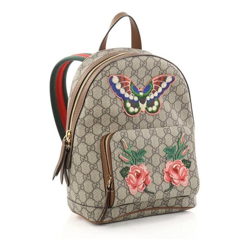 56373ef01e40 Gucci Zip Pocket Backpack Embroidered GG Coated Canvas Small at 1stdibs
