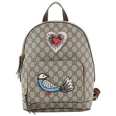 Gucci Zip Pocket Backpack Embroidered GG Coated Canvas Small