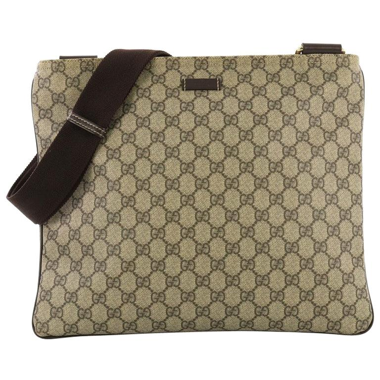 34cf38b67 Gucci Zip Top Messenger Bag GG Coated Canvas Large For Sale at 1stdibs