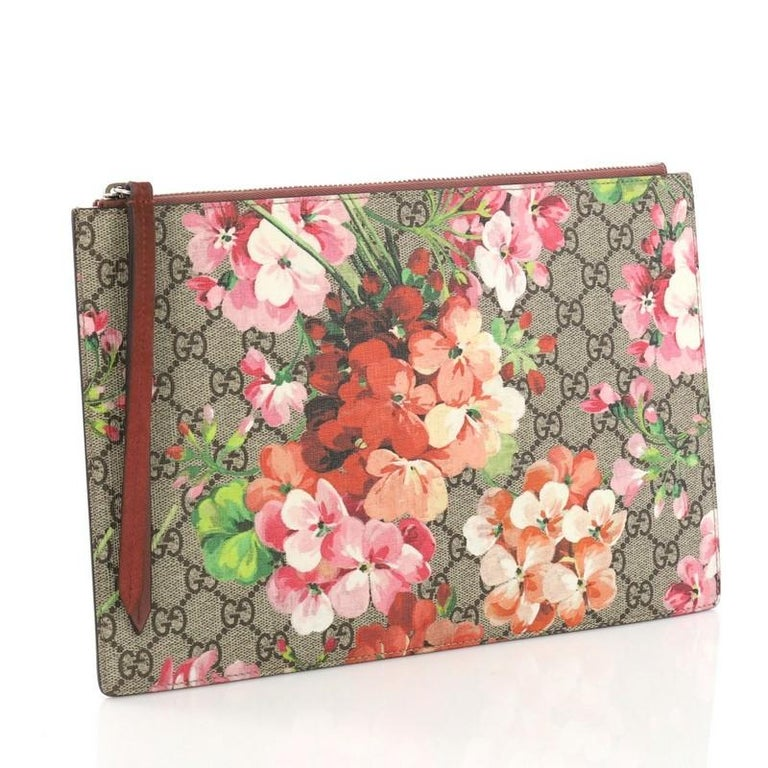 e96bb902076dca Brown Gucci Zipped Pouch Blooms Print GG Coated Canvas Large For Sale