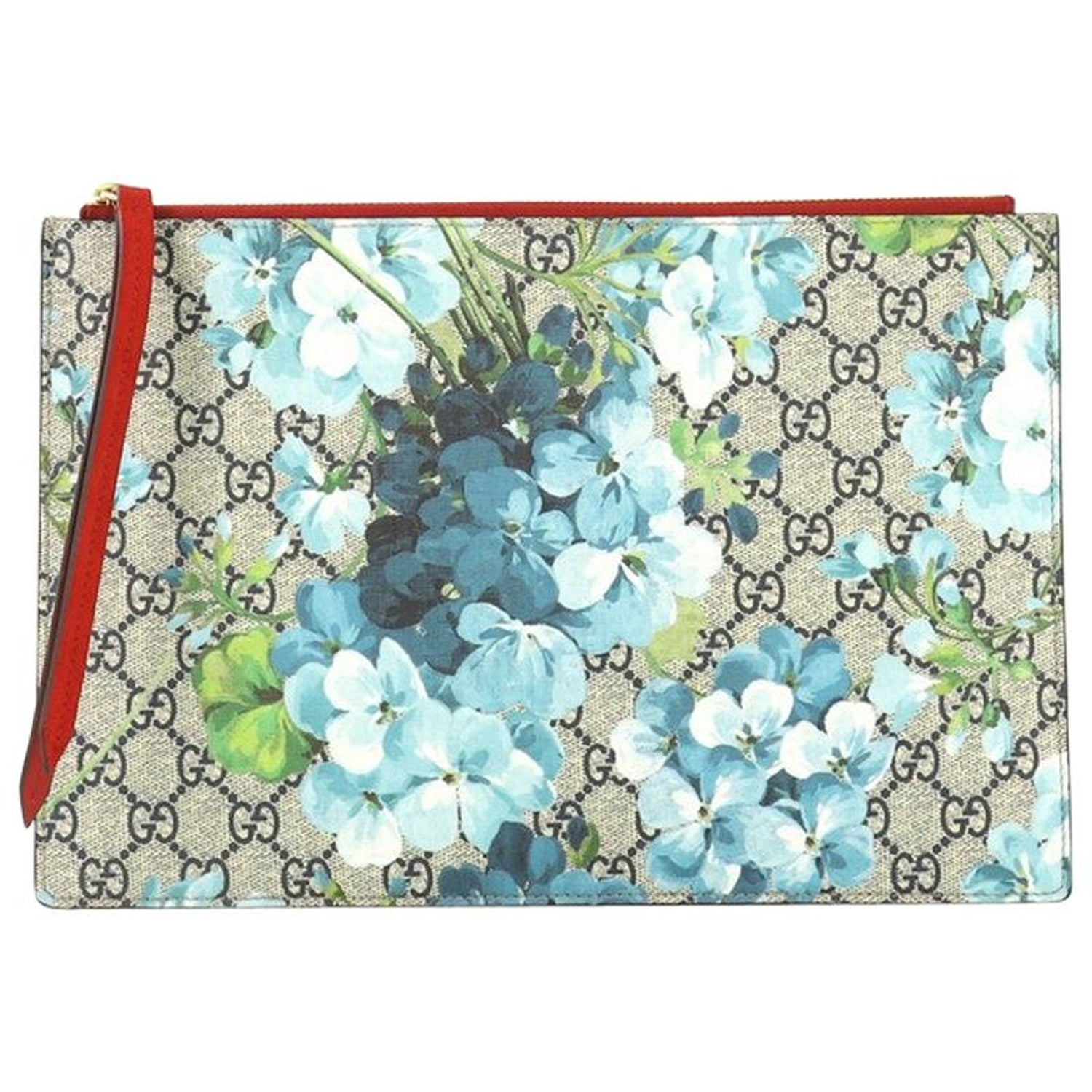7ed21f6d571 Gucci Zipped Pouch Blooms Print GG Coated Canvas Large at 1stdibs