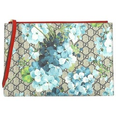 Gucci Zipped Pouch Blooms Print GG Coated Canvas Large