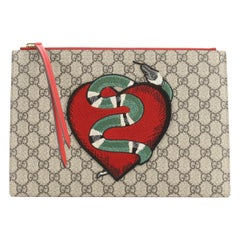 Gucci Zipped Pouch Embroidered GG Coated Canvas and Leather Large