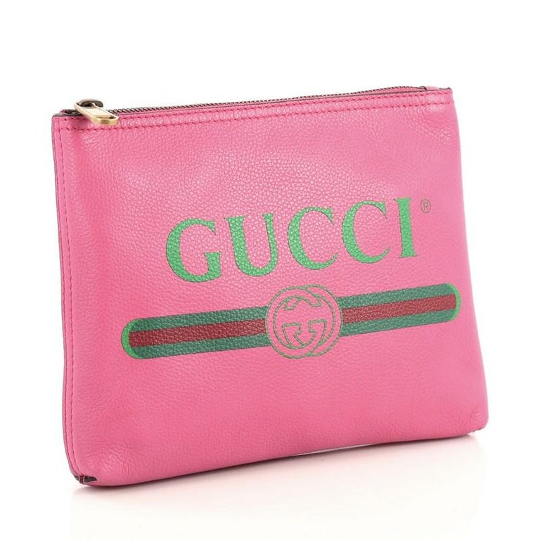 Gucci Zipped Pouch Printed Leather Small In Good Condition In New York, NY
