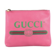 Gucci Zipped Pouch Printed Leather Small