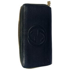 GUCCI  Zippy Wallet Black Leather GG Logo